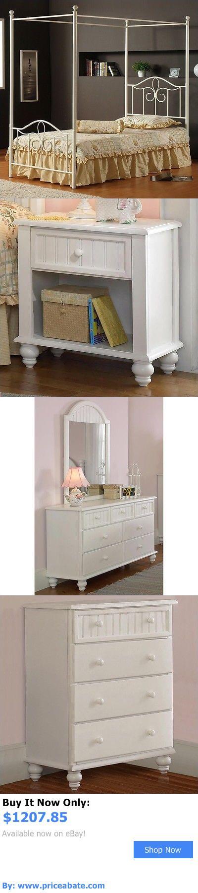 Bedding: Hillsdale Westfield Metal Canopy Bed 5 Piece Bedroom Set In Off White-Twin BUY IT NOW ONLY: $1207.85 #priceabateBedding OR #priceabate