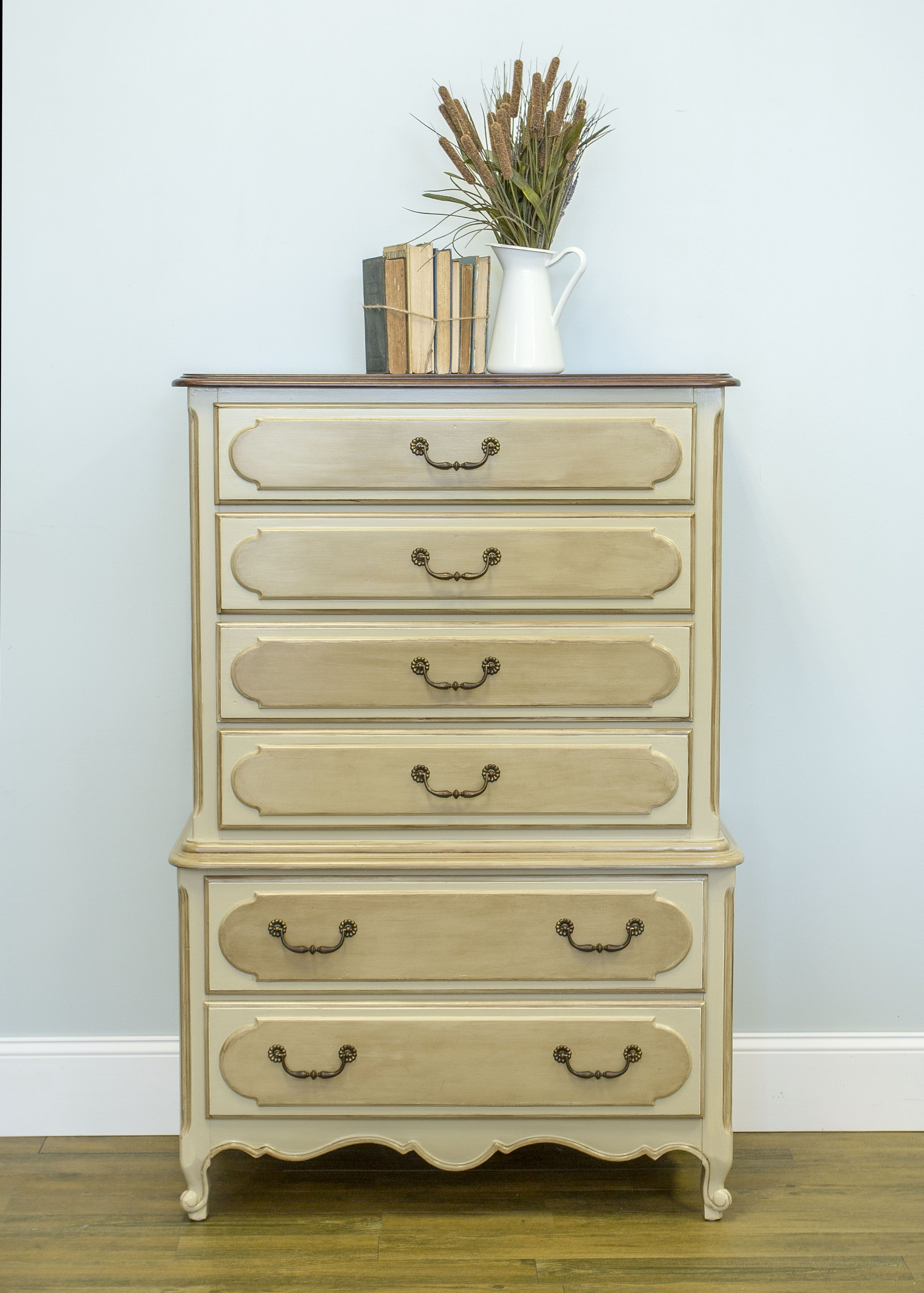 I refinished this highboy in General Finishes Millstone Milk Paint