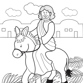 Jesus Rides Donkey Into Jerusalem Coloring Page For Palm Sunday