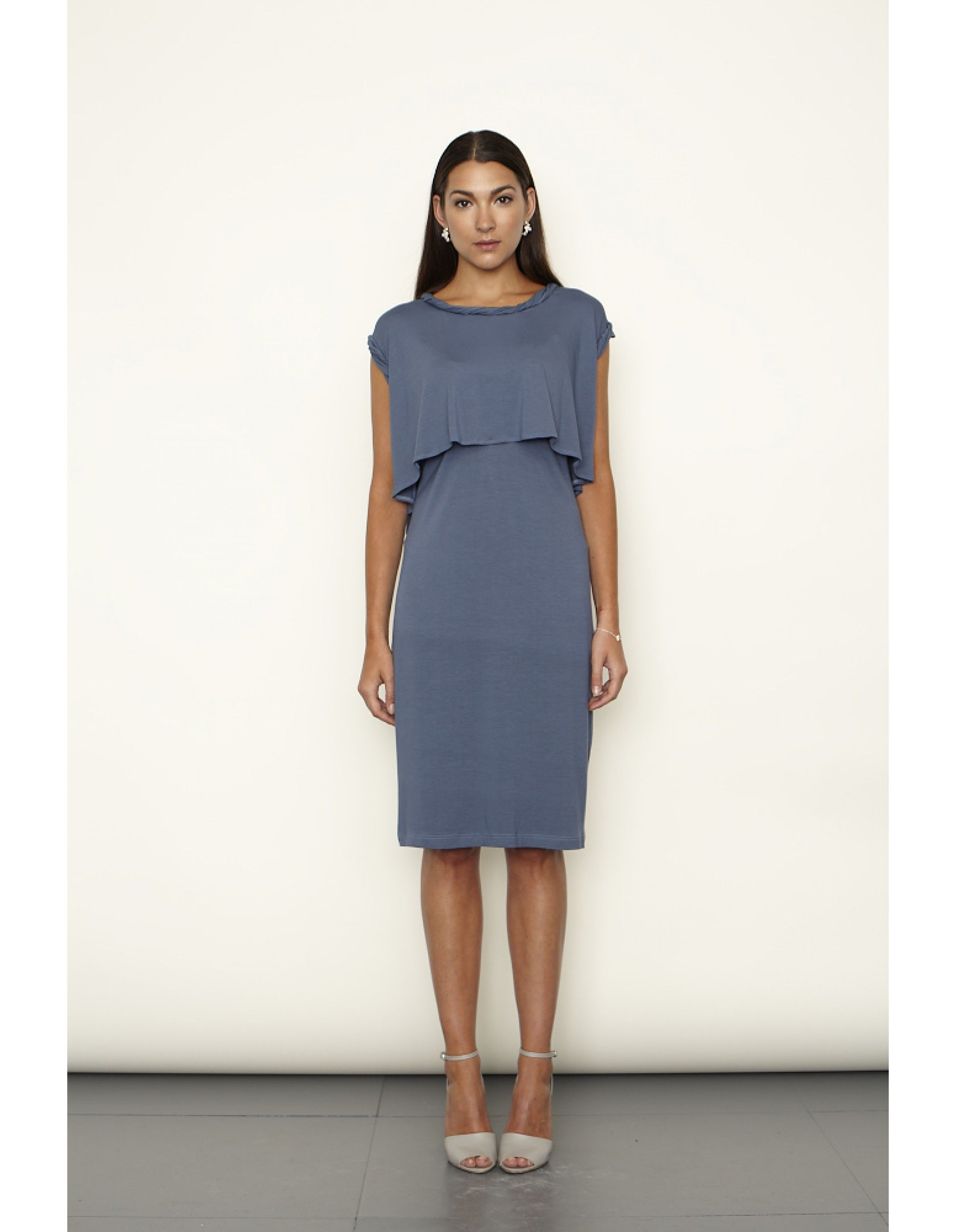 Twisted Neck Detail Layered Nursing Dress available in French Navy and White.   Keungzai, designed and made in the UK. For style-savvy women, mothers and mums-to-be.  View & shop: http://www.keungzai.com/Shop-by-collection/Spring-Summer-2013-Collection/Twisted-Neck-Detail-Layered-Nursing-Dress