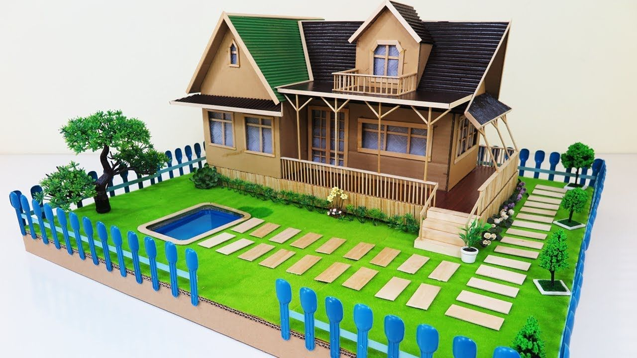 How To Make A Beautiful House With Fairy Garden Swimming Pool Dream Cardboard House Garden Swimming Pool Beautiful Homes