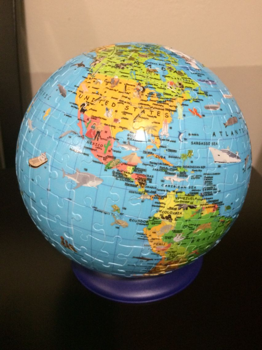 Puzzle, world map, globe, rompecabezas, globo terraqueo