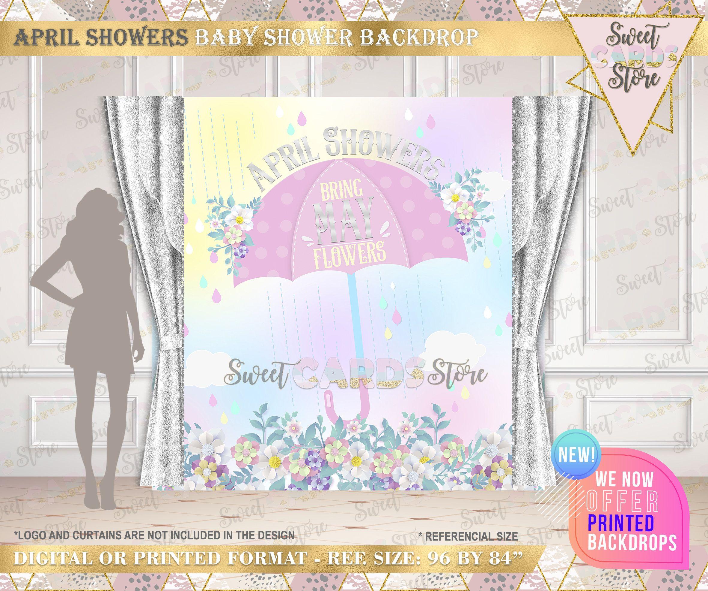 April Showers Floral Party Backdrop April Showers Baby Shower