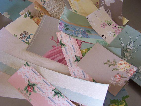 30 Pieces C1940s Vintage Wallpaper Scraps For Paper Collage Etsy Vintage Wallpaper Card Making Wallpaper
