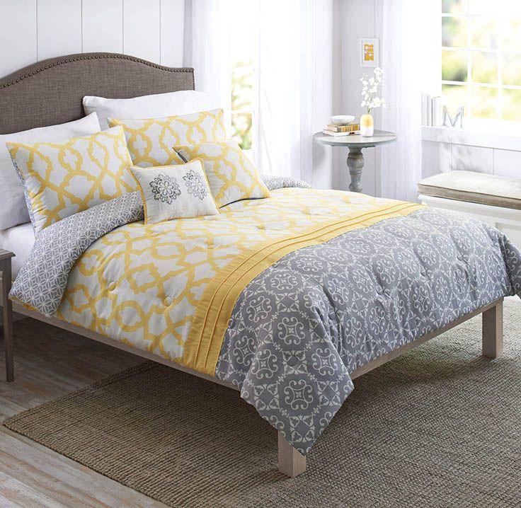 Better Homes Gardens Full Medallion Yellow Gray Comforter Set 5 Piece Walmart Com Grey Comforter Sets Yellow And Gray Comforter Yellow Bedding