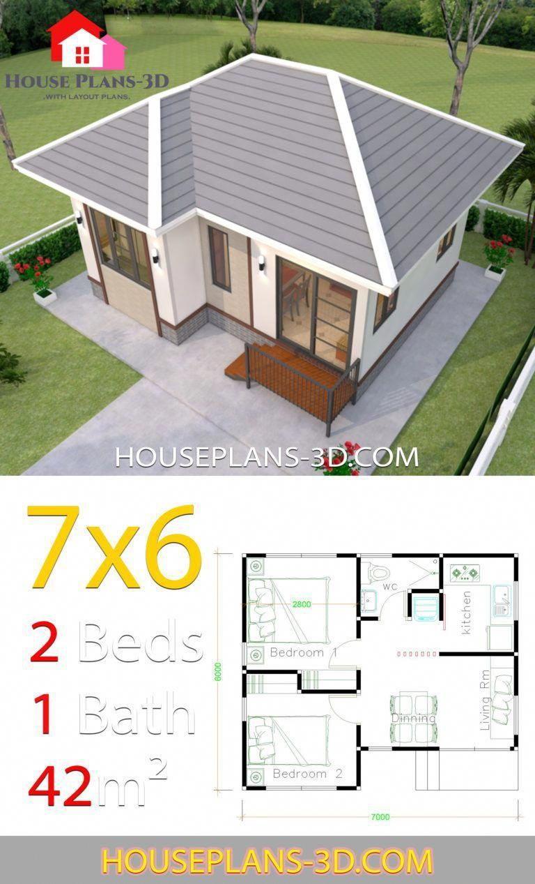 House Plans Design 7x6 With 2 Bedrooms Hip Roof House Plans 3d House Plans Home Design Plans Small House Design