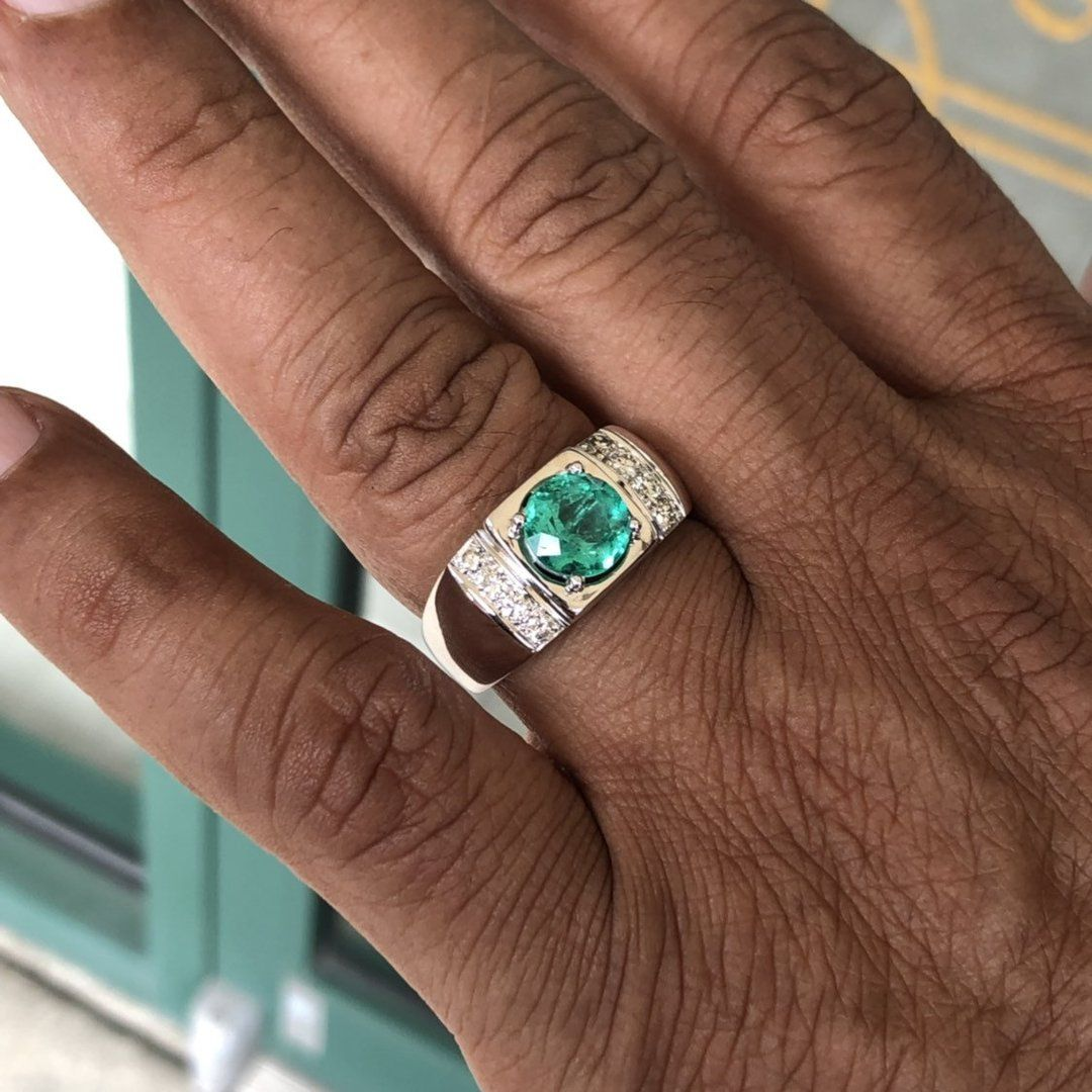 Turkish Handmade Jewelry 18K White Gold Emerald Gemstone Ring Wedding Sz6-10