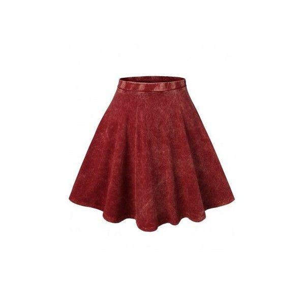 Doublju Womens Acid Wash Skater Skirt (AWBSS036) (18,015 KRW) found on Polyvore #doublju