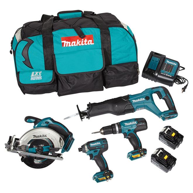 Makita Set Of 4 Cordless Tools 18 V Lithium Ion Lxt Teal Dlx4057x1 Rona Cordless Tools Makita Makita Tools