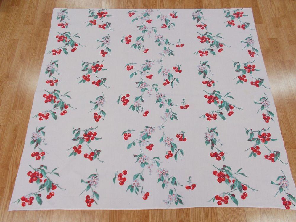 NICE Vintage Tablecloth WILENDUR CHERRIES CHERRY 53x50 Inches Bright U0026  Colorful