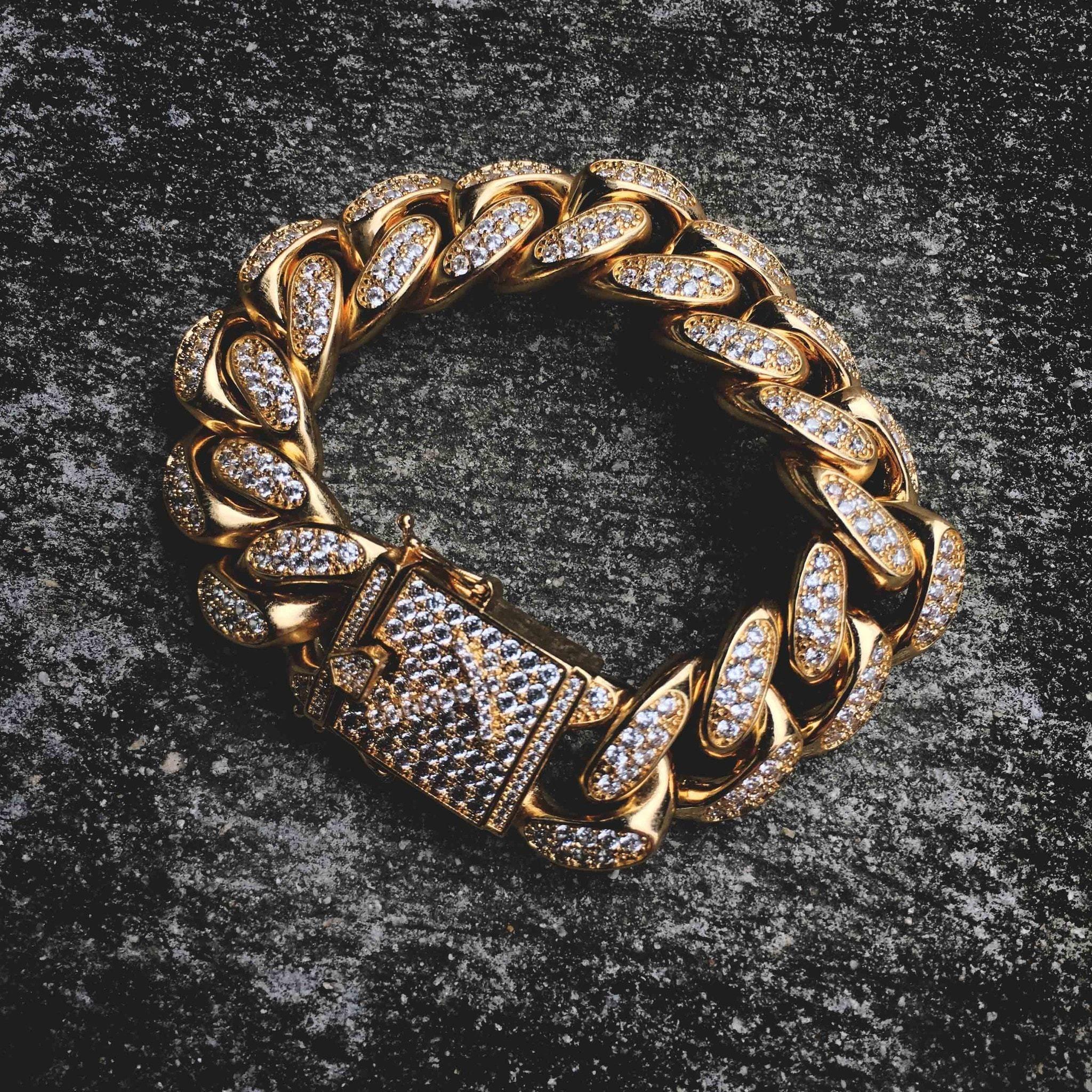 3c938ab26fe69 Diamond Cuban Link Bracelet (19mm) in Yellow Gold | HIPHOP CULTURE ...