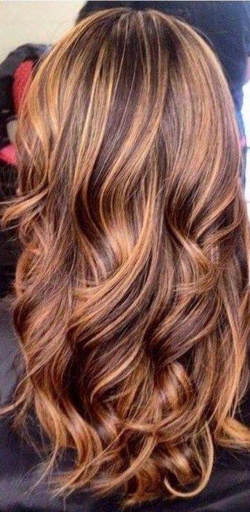 50 dunkles Haar mit Karamell Highlights Ideen