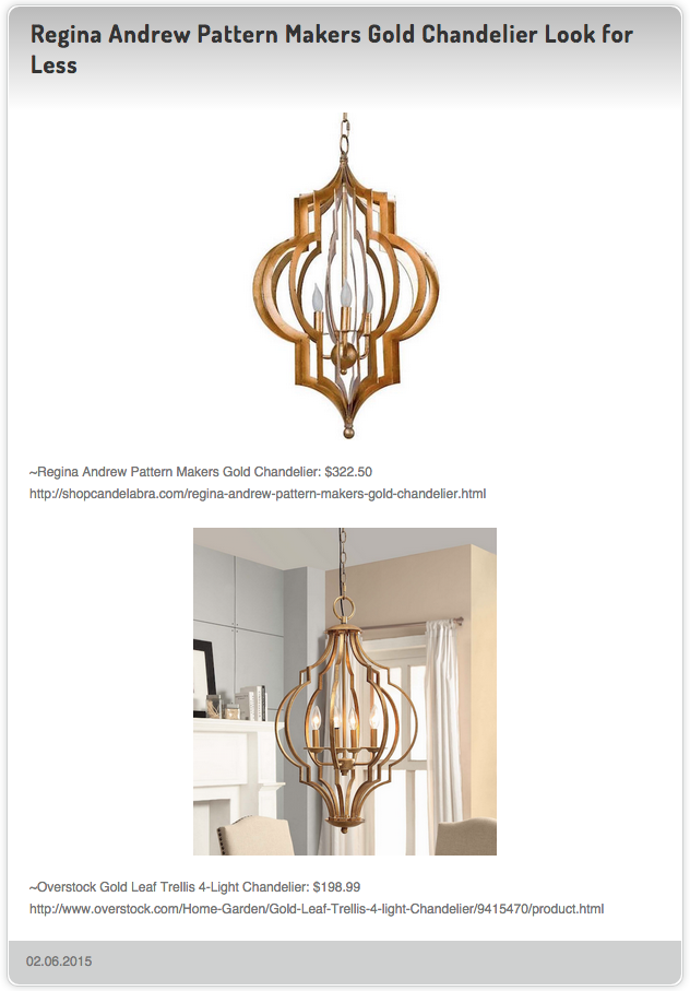 Regina Andrew Pattern Makers Gold Chandelier: $322.50 vs Overstock Gold Leaf Trellis 4-Light Chandelier $198.99