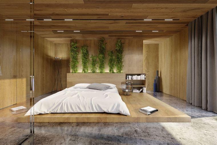 Camera da letto moderna feng shui parete decorata piante verdi