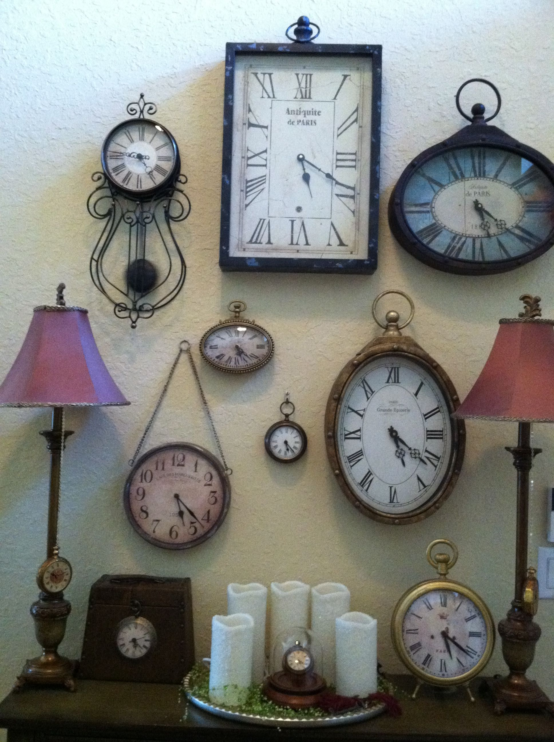My Own Clock Display Wall In The Entrance Way Clocks Pinterest