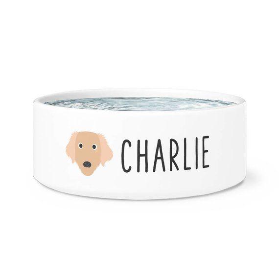 Personalized Golden Retriever Dog Bowl Custom Name Dog Bowl