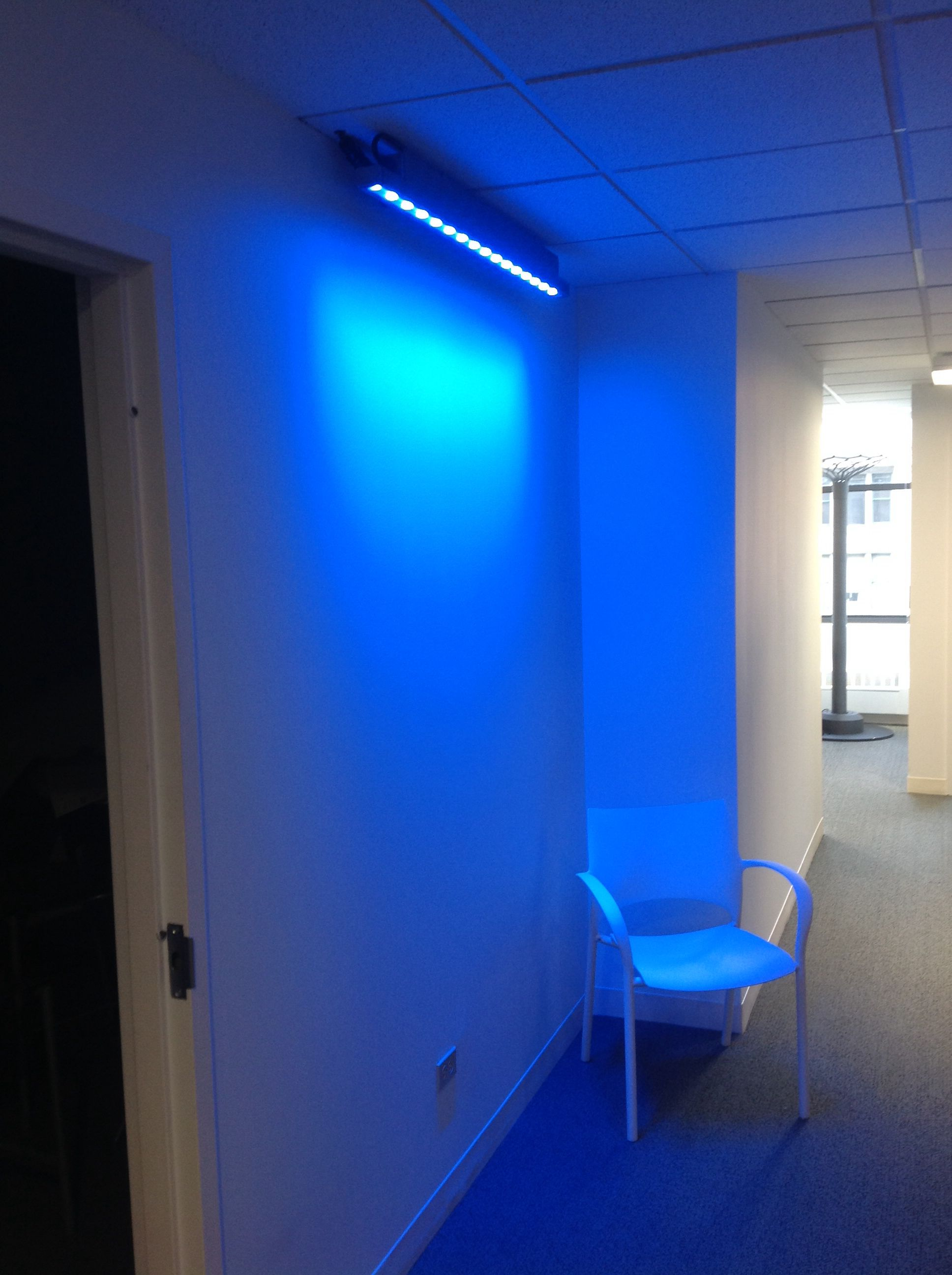 Color changing LED wall wash fixture at KSA's downtown ...