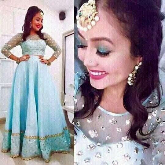 Neha Kakkar In Sky Blue Lehenga Choli Net Lehenga Choli Plain Lehenga With Mirror Work Blouse Party Wear Lehenga Choli Neha Kakkar Dresses Blue Lehenga Dresses