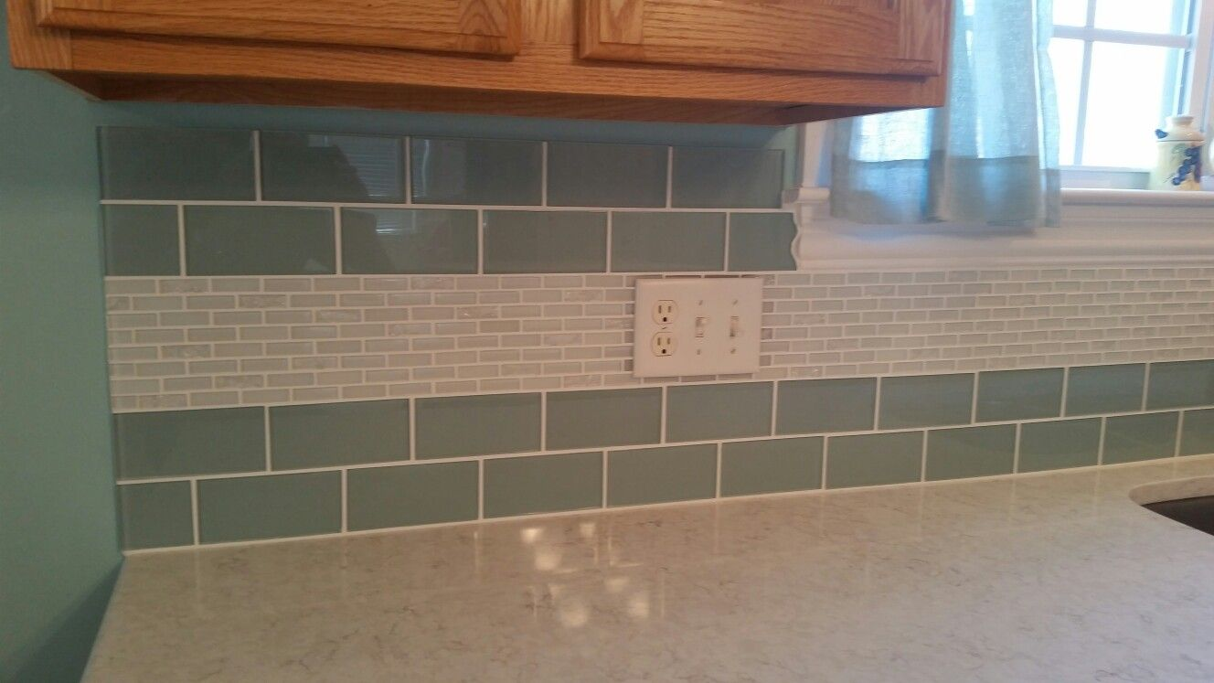 Glass subway tiles and mosaic sheets from Lowes. Countertops are ...