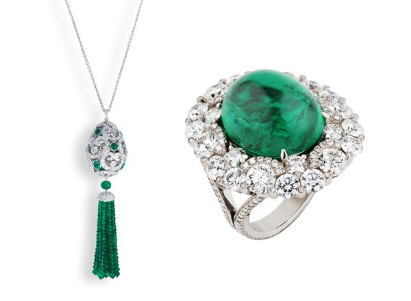 Fabergé's Oeuf Impératrice Pompon pendant is made in 18-karat white gold with Gemfields Zambian emeralds. The ring is made in 18-karat white gold with a cabochon Gemfields Zambian emerald.