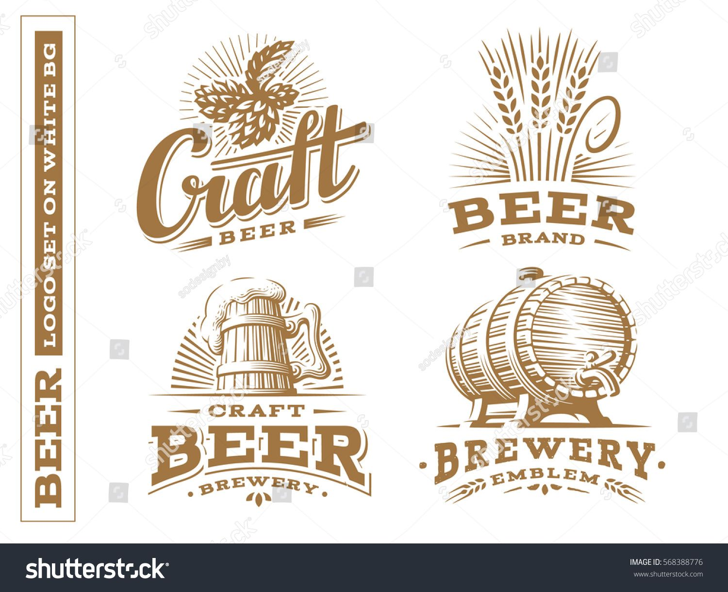 Set Beer Logo Vector Illustration Emblem Brewery Design On