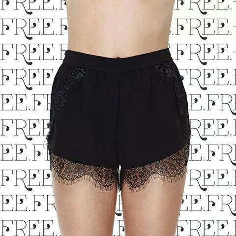 Black lace trim shorts.