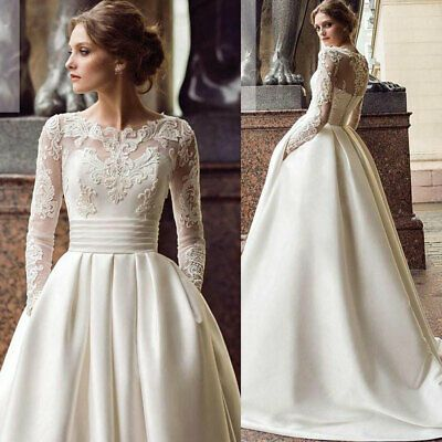Ad Ebay Url White Ivory Celebrity Wedding Dresses A Line Bridal Gowns Lace Appliques Train In 2020 Wedding Dresses Wedding Dress Long Sleeve Wedding Dresses Satin