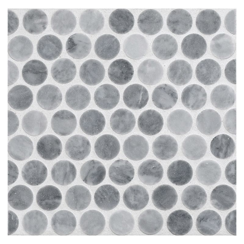 Floor tile: Penny Rounds Mosaic Tile | Honed Bardiglio ...