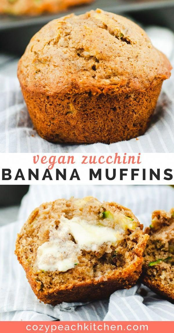 Vegan zucchini banana bread muffins are a moist & flavorful, healthy-ish vegan dessert. #veganbaking #veganrecipes #zucchinibread #muffins #vegandessert