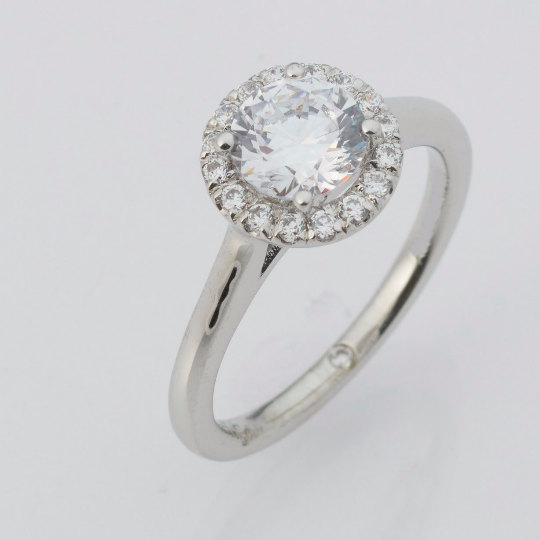 14k White Gold Moissanite Diamond Ring