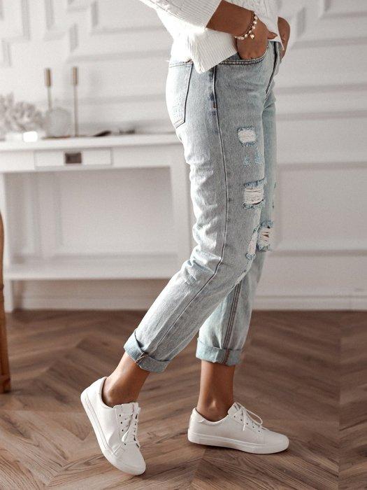 Spodnie Typu Mom Jeans Z Dziurami Jasny Jeans Butik Rose Boutique Fashion Outfits Mom Jeans