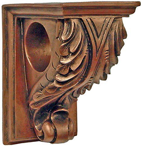 Corbel Drapery Curtain Rod Holder Set Of Two Decorative Resin Shelf Sconce