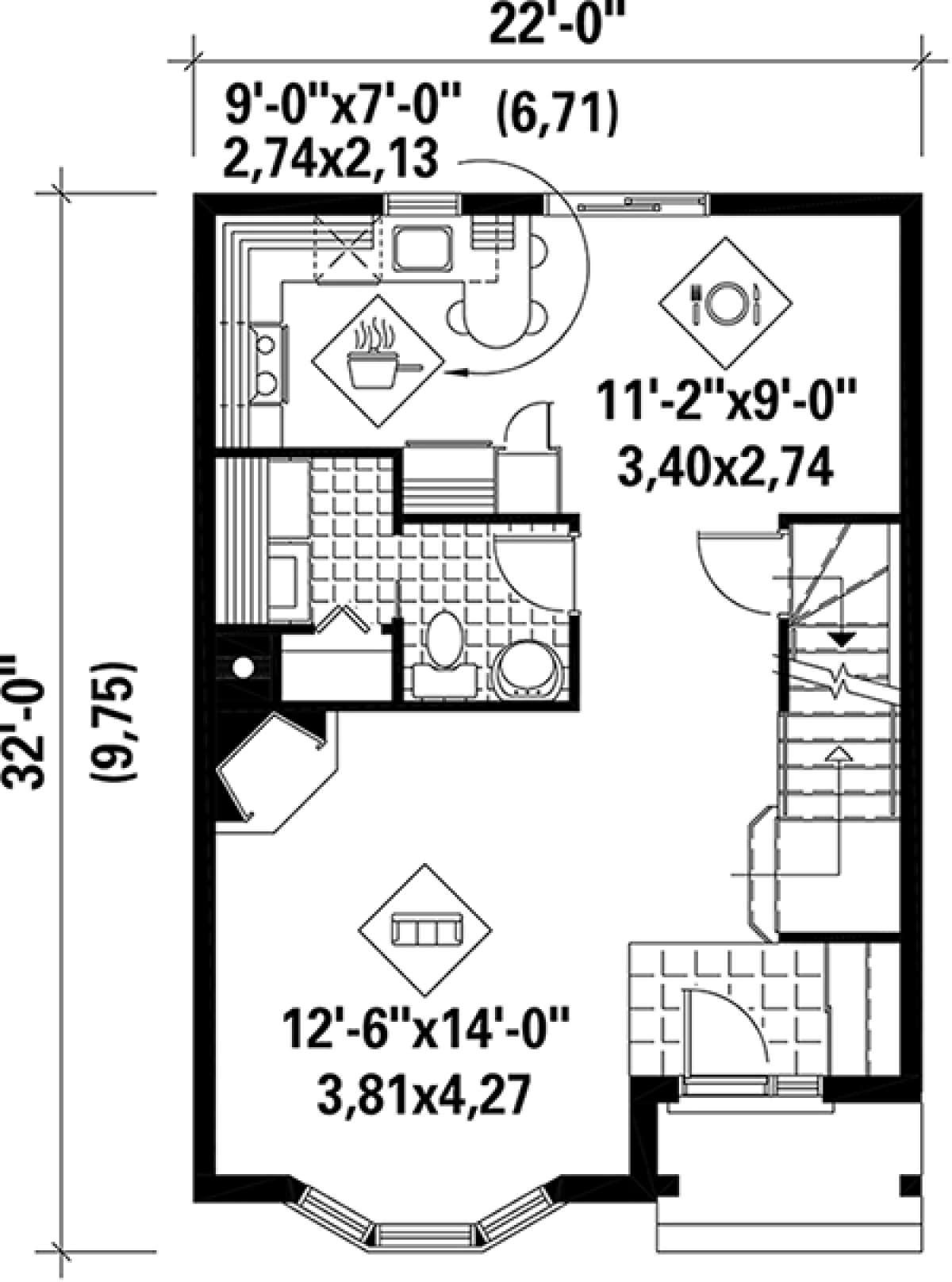 Traditional Plan: 1,302 Square Feet, 2 Bedrooms, 1.5 Bathrooms - 6146-00208