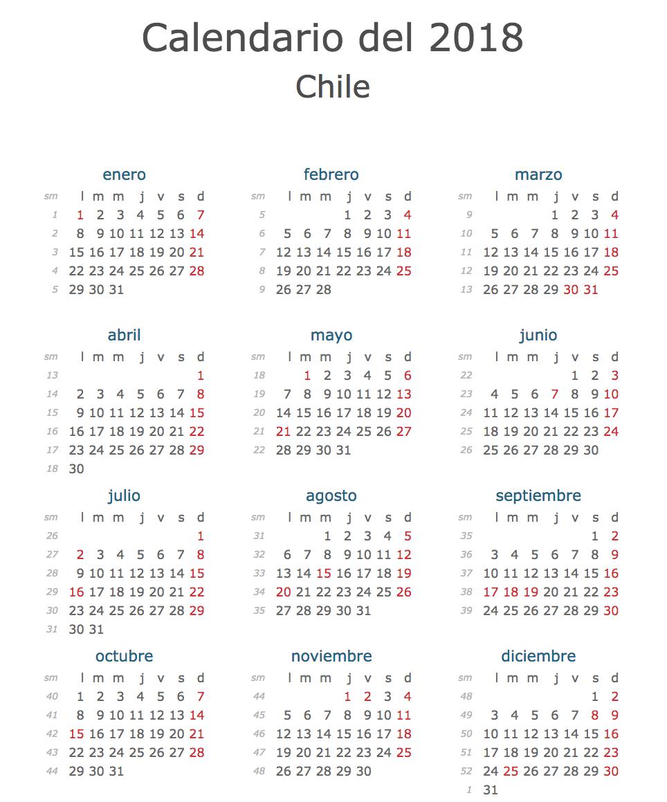 Calendario Marzo 2020 Chile.Calendario Oficial Feriados Chile 2018 Con Fiestas Patrias