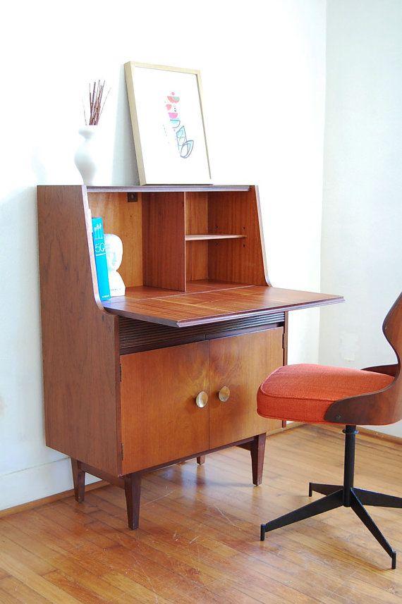 Vintage Secretary Desk Mid Century Modern By Ljindustries On Etsy 525 00