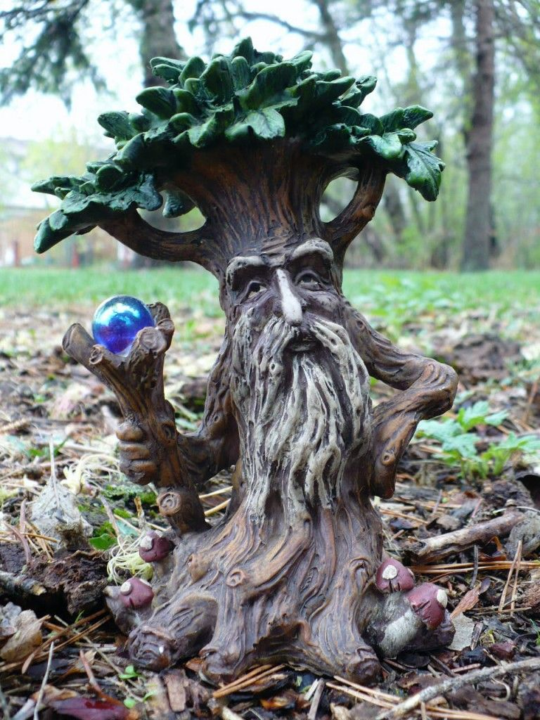 New 2 Tree Man Statues Enchanted Forest Crystal Ball