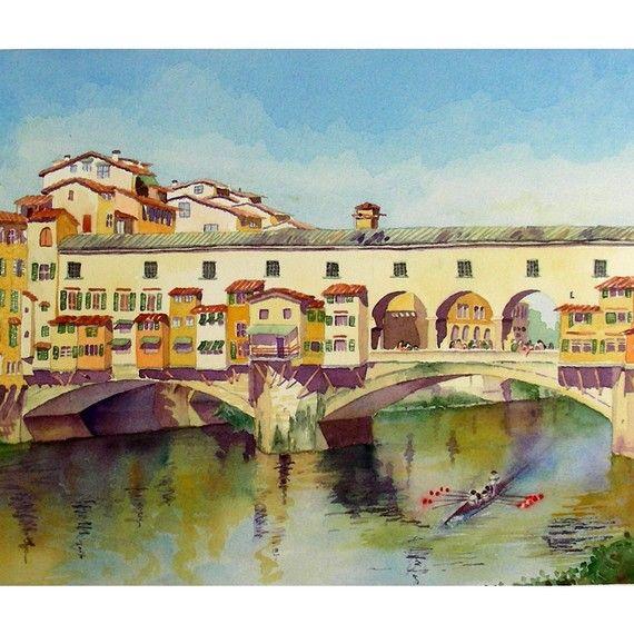 Florence Italy Ponte Vecchio Landscape print Famous