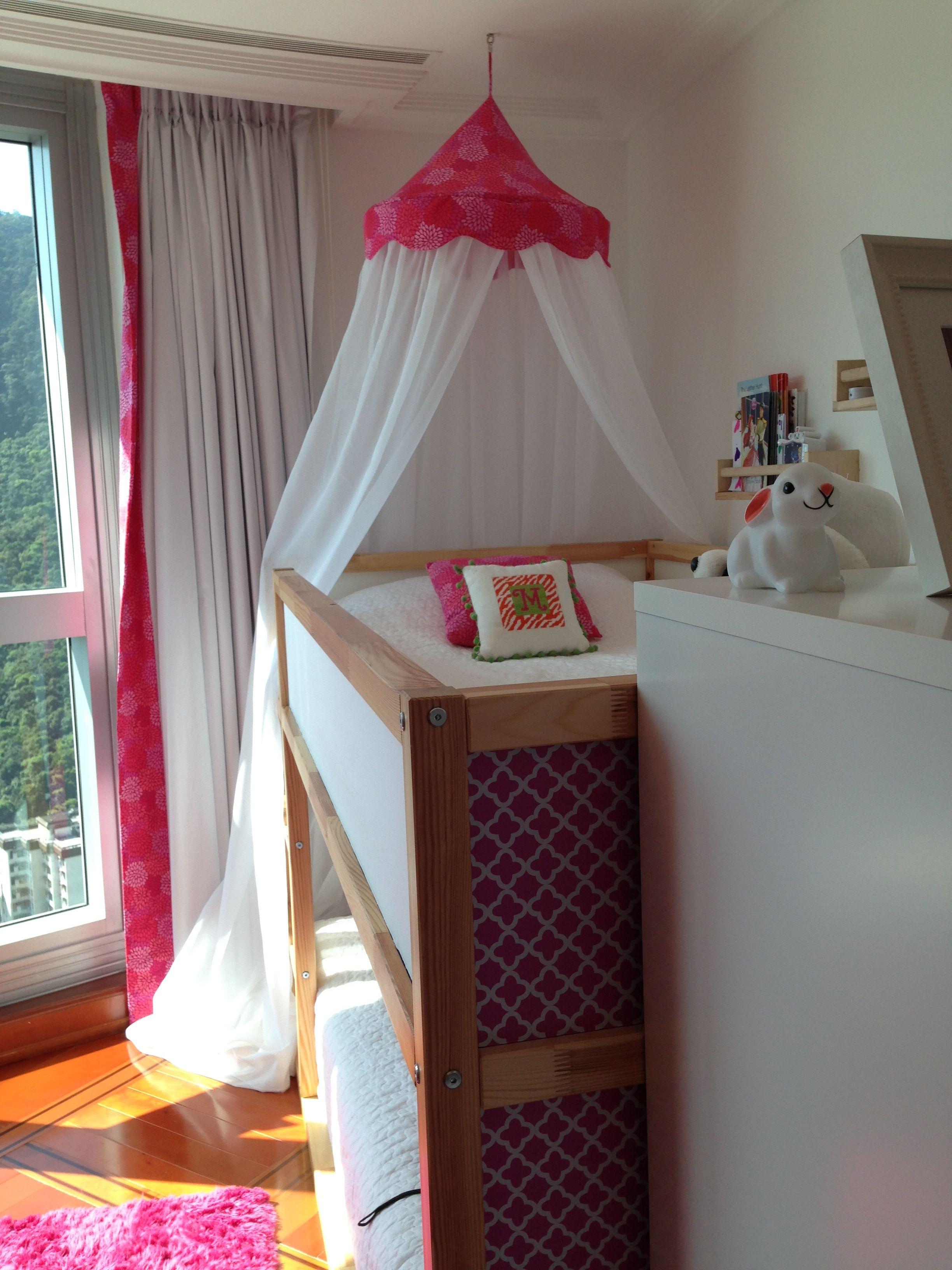 My ikea Kura hack for two little girls. Bed on bottom is