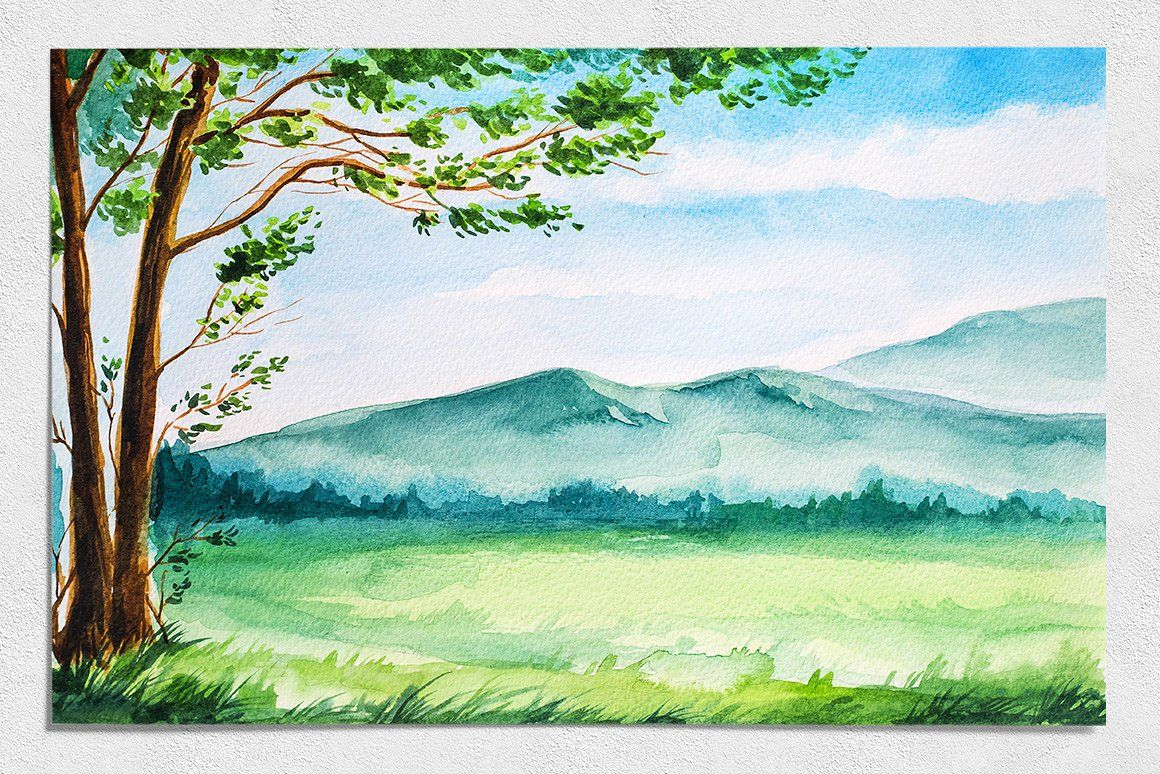 Spring Landscapes Watercolor Arte De Acuarela Arte Del Universo Paisajes Acuarela