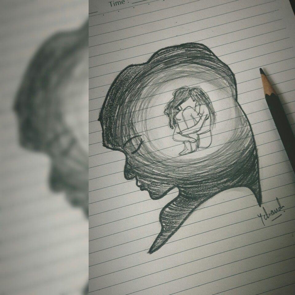 Easy Sketch Of Sad Girl Art In 2019 Sketches Drawings