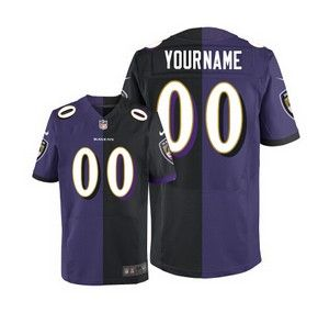 2b3c48d9b Men s Nike Custom Baltimore Ravens Elite Two Tone Black Purple Team  Alternate Jersey