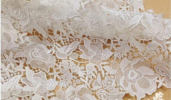 Lace fabric floral lace fabric guipure lace fabric venise | Etsy