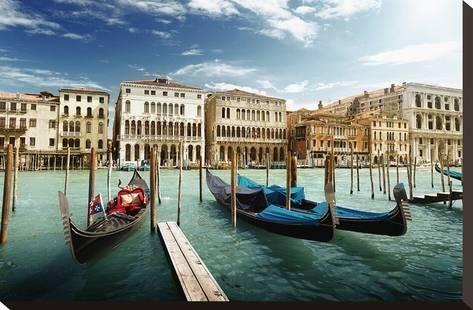 Gondolas On Pier Venice Italy Stretched Canvas Print Art Com Venice Photos Venice Italy Italy Vacation