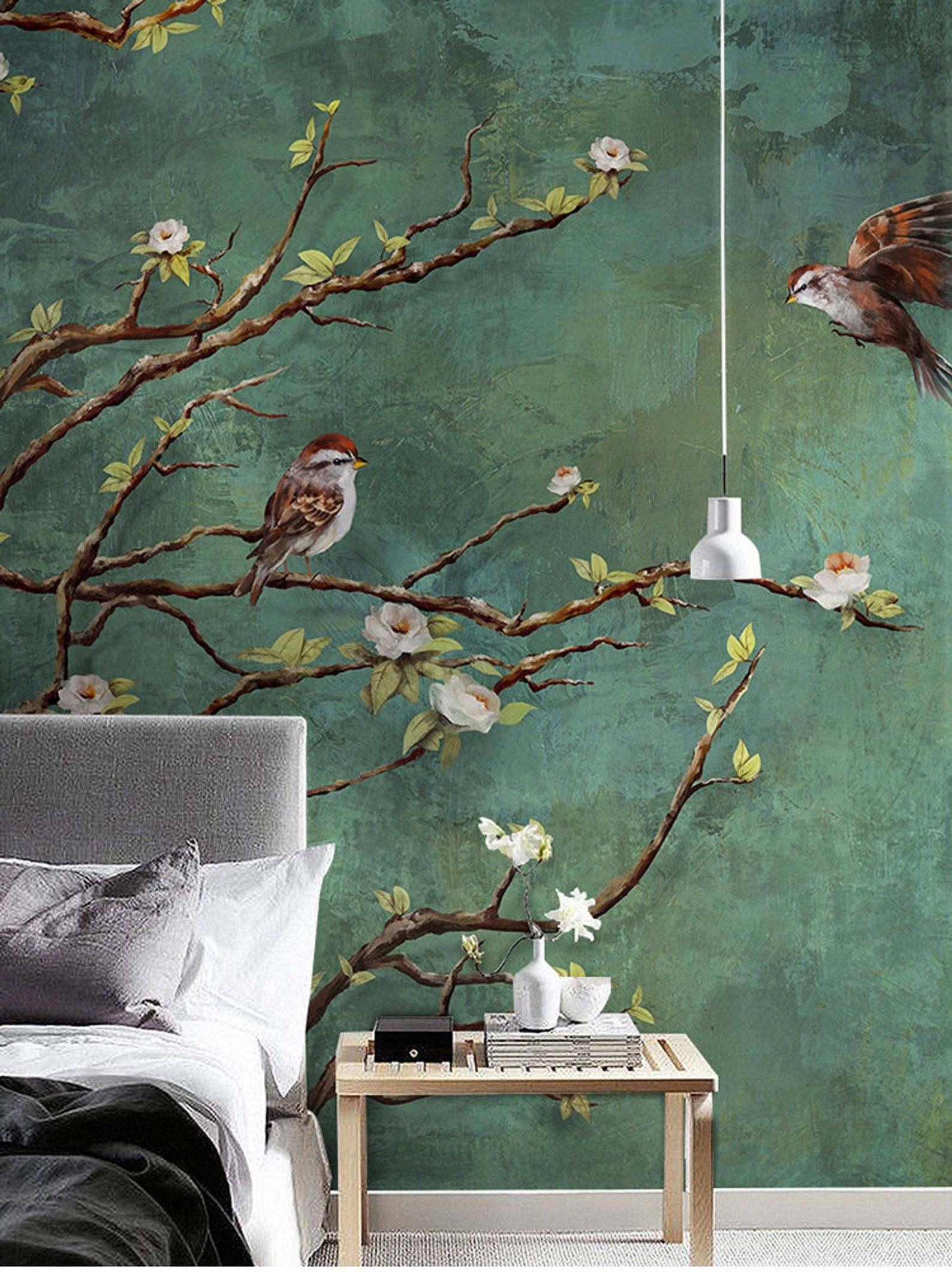 Vintage Dark Birds and Flowers Wallpaper, Nature Wall