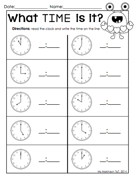 february printable packet kindergarten literacy and math telling time by the hour valentine 39 s. Black Bedroom Furniture Sets. Home Design Ideas
