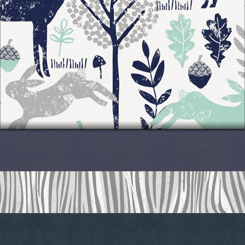 Navy And Mint Woodlands Fabric Woodland Fabric Carousel Designs Woodlands