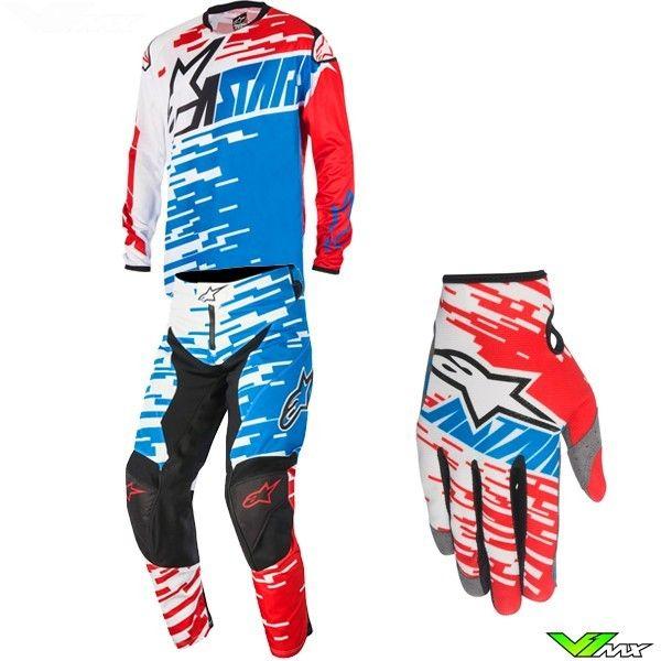 Alpinestars Techstar Gloves Gry//Red Motocross Mx Quad Atv Off Road