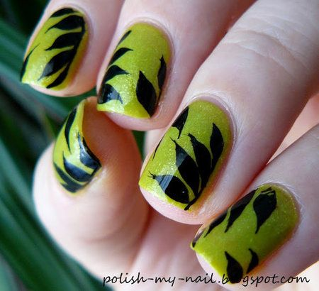 Black leafs on lime green polish #nailart #nails #polish #mani - Share/explore more nail looks at bellashoot.com!