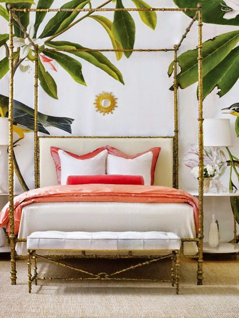 Gorgeous Bedroom With High Bedside Poles And Pink Textiles For Tropical Design