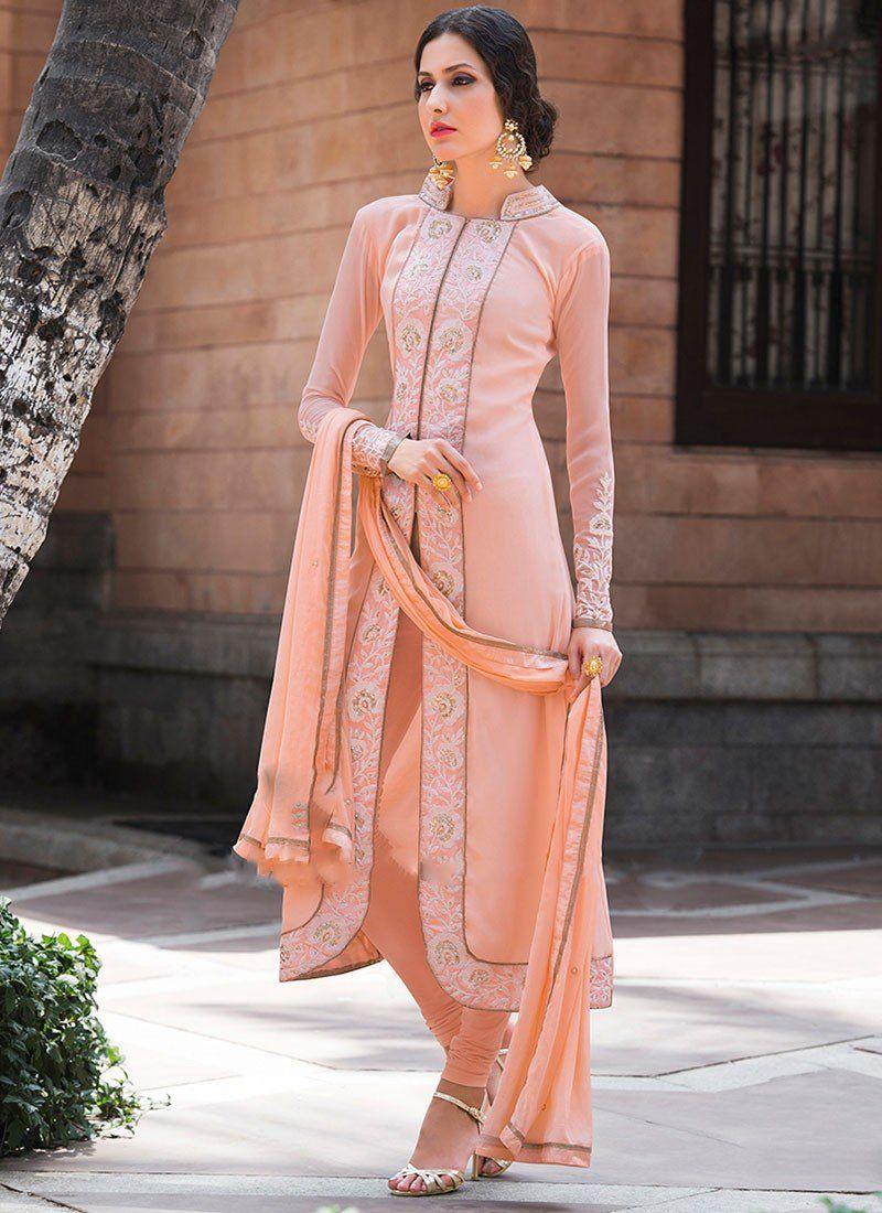 Shop Peach Georgette #AchkanSalwarSuit Online @Chennaistore ...